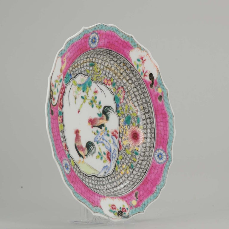 Chinese Porcelain 20th-21st Century Chicken Rooster Dinner Plate Hand Painted For Sale 4