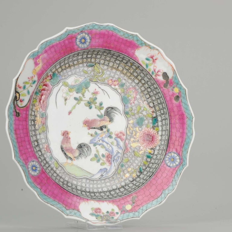 Chinese Porcelain 20th-21st Century Chicken Rooster Dinner Plate Hand Painted For Sale 5