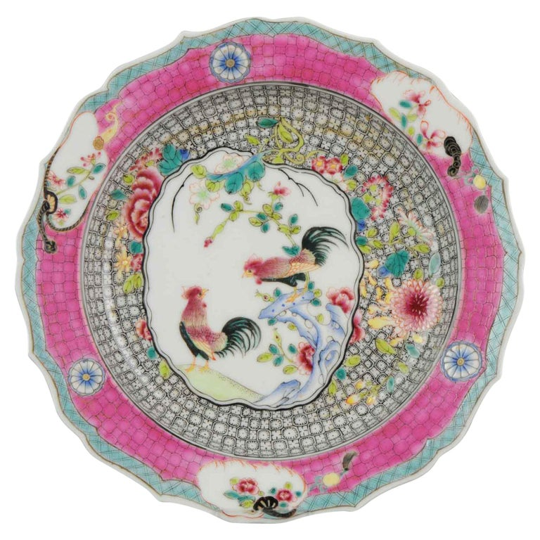 Chinese Porcelain 20th-21st Century Chicken Rooster Dinner Plate Hand Painted For Sale