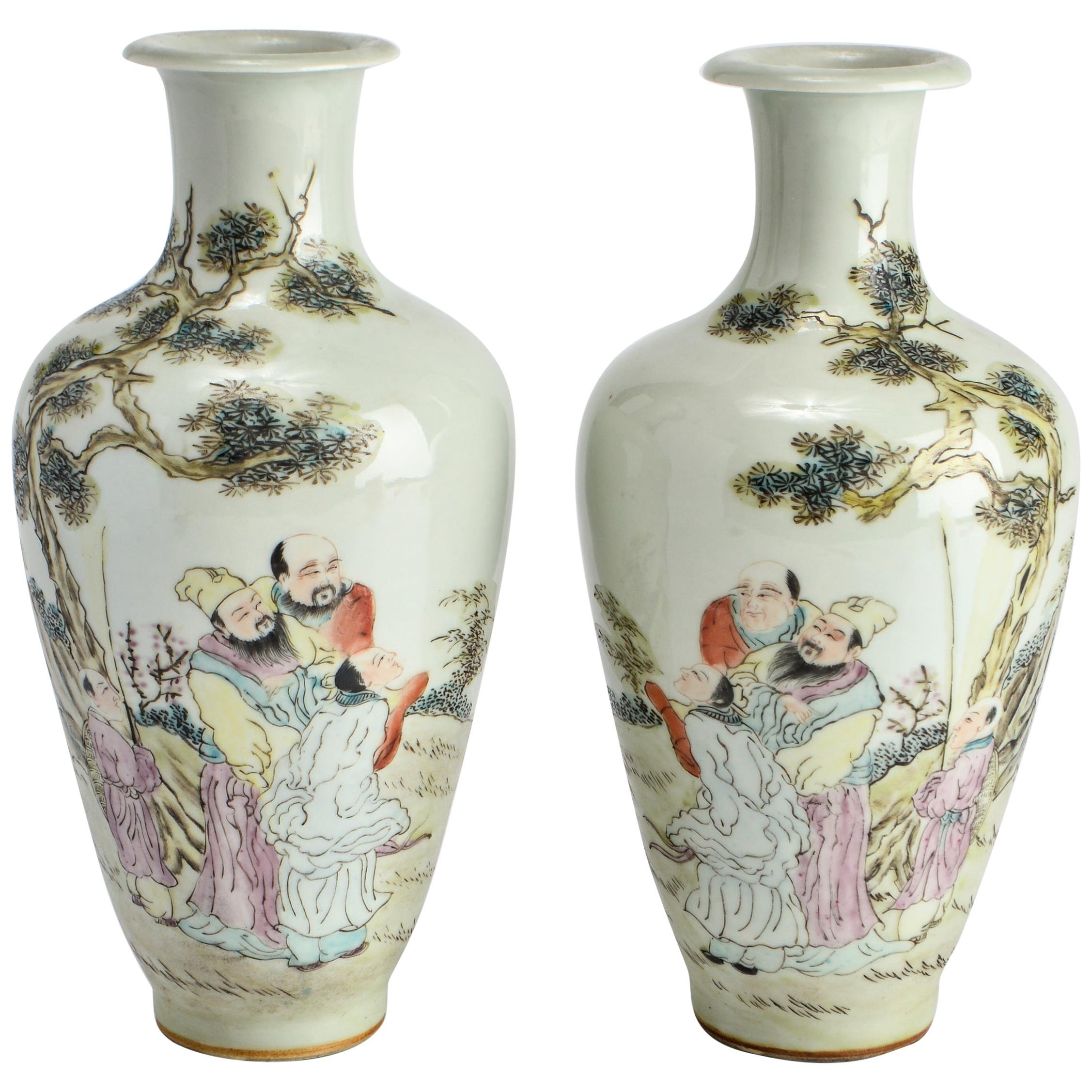 Chinese Porcelain Baluster Vases with Scholars