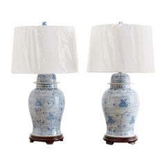 Chinese Porcelain Blue and White Ginger Jar Lamps