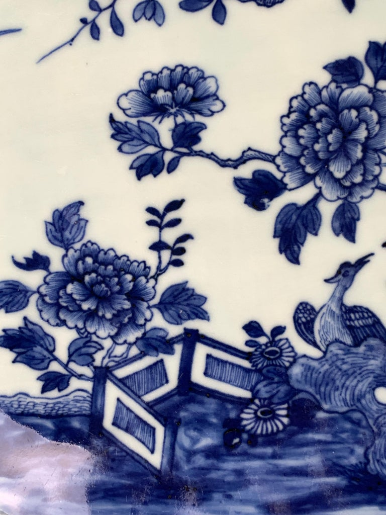 Chinese Export Chinese Porcelain Blue and White Platter Hand-Painted, 18th Century, Circa 1770 For Sale