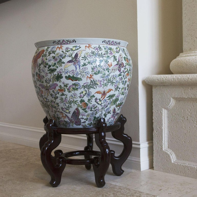 Chinese Porcelain Butterfly Matching Pair of Fish Bowl For Sale 10
