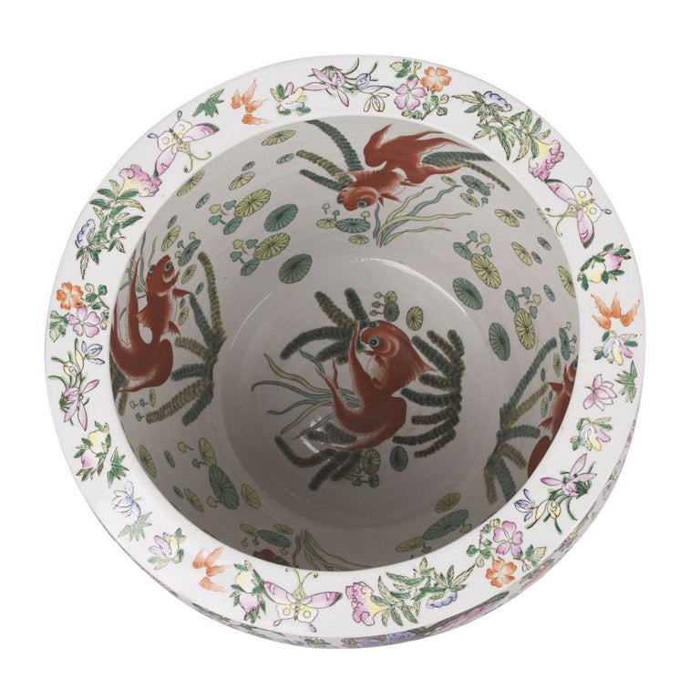 Chinese Porcelain Butterfly Matching Pair of Fish Bowl For Sale 5