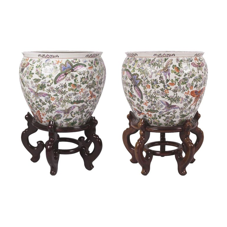 Chinese Porcelain Butterfly Matching Pair of Fish Bowl For Sale