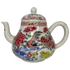 Chinese porcelain Cockerel and Cat Teapot, circa 1740, Qianlong Period