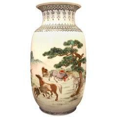 Chinese Porcelain Enameled Familie Verte Vase