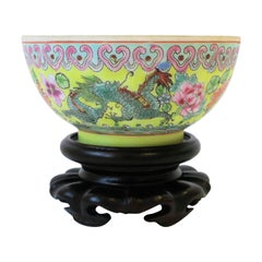 Chinese Porcelain Famille Rose Bowl with Dragon Design