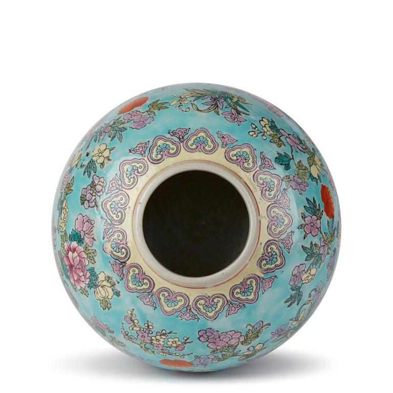 Chinese Porcelain Turquoise / Blue Famille Rose Lidded Ginger Jar For Sale 5