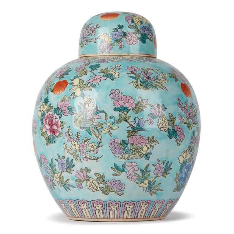 Glazed Chinese Porcelain Turquoise / Blue Famille Rose Lidded Ginger Jar For Sale