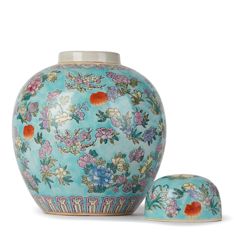 20th Century Chinese Porcelain Turquoise / Blue Famille Rose Lidded Ginger Jar For Sale