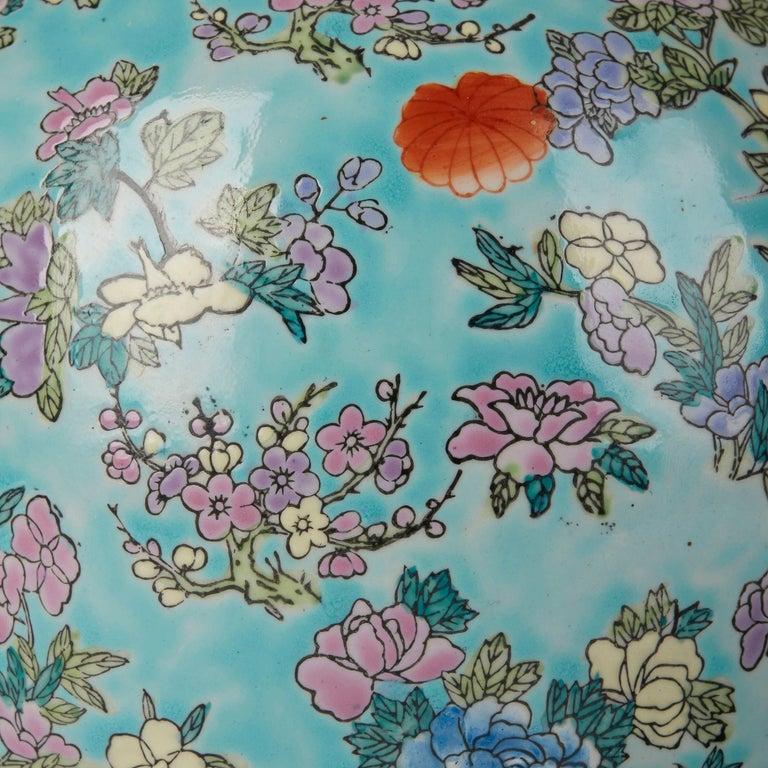 Chinese Porcelain Turquoise / Blue Famille Rose Lidded Ginger Jar For Sale 2