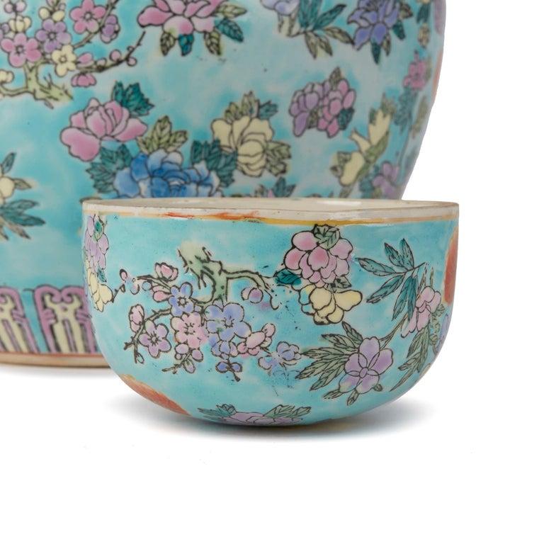 Chinese Porcelain Turquoise / Blue Famille Rose Lidded Ginger Jar For Sale 3