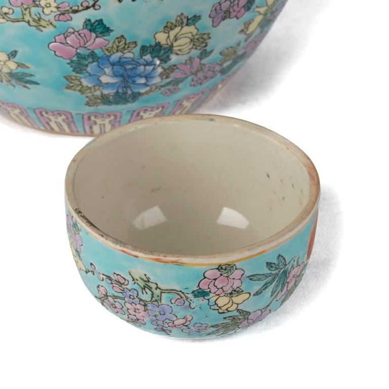 Chinese Porcelain Turquoise / Blue Famille Rose Lidded Ginger Jar For Sale 4