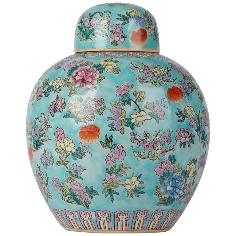 Chinese Porcelain Turquoise / Blue Famille Rose Lidded Ginger Jar For Sale