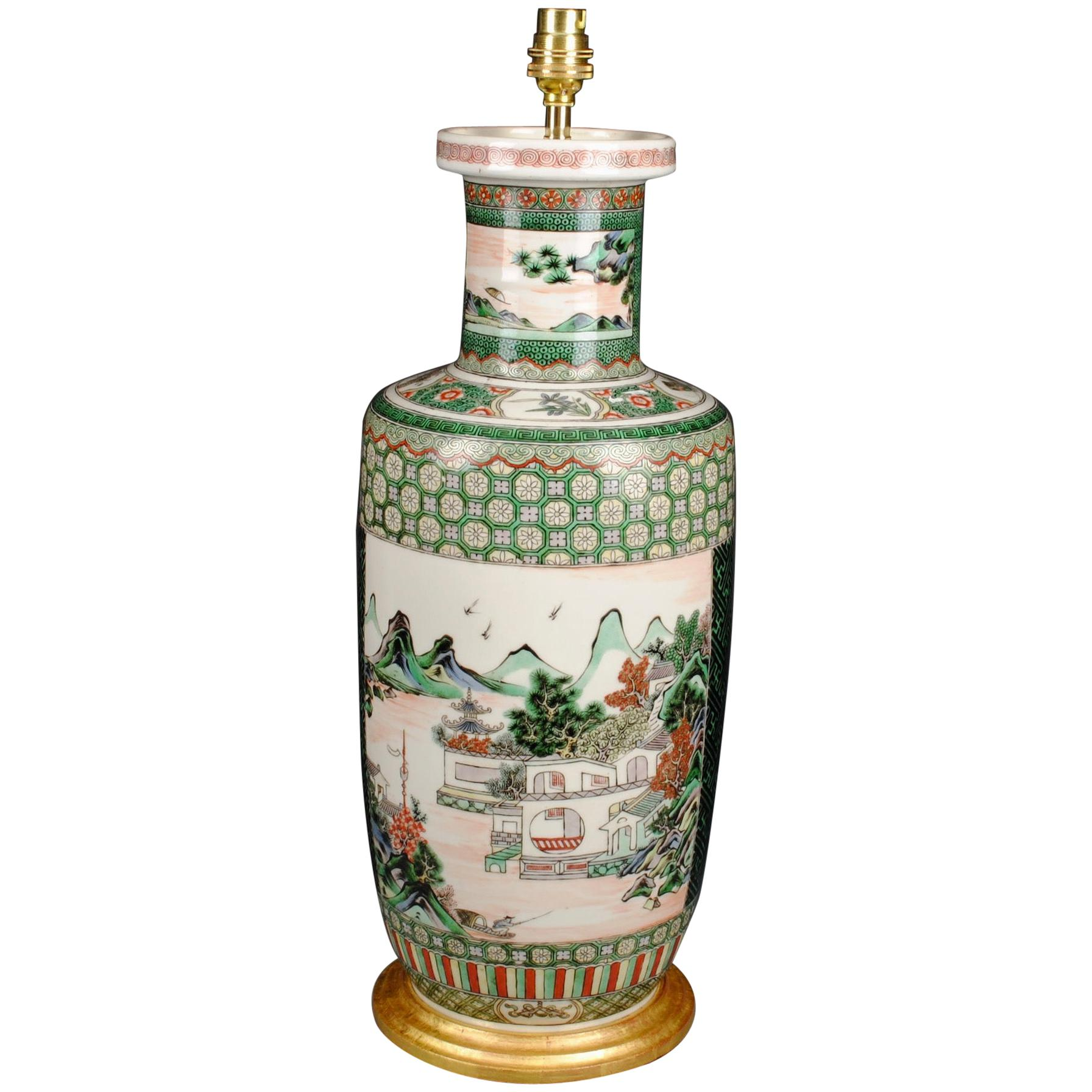 Chinese Porcelain Famille Verte 19th Century Antique Table Lamp