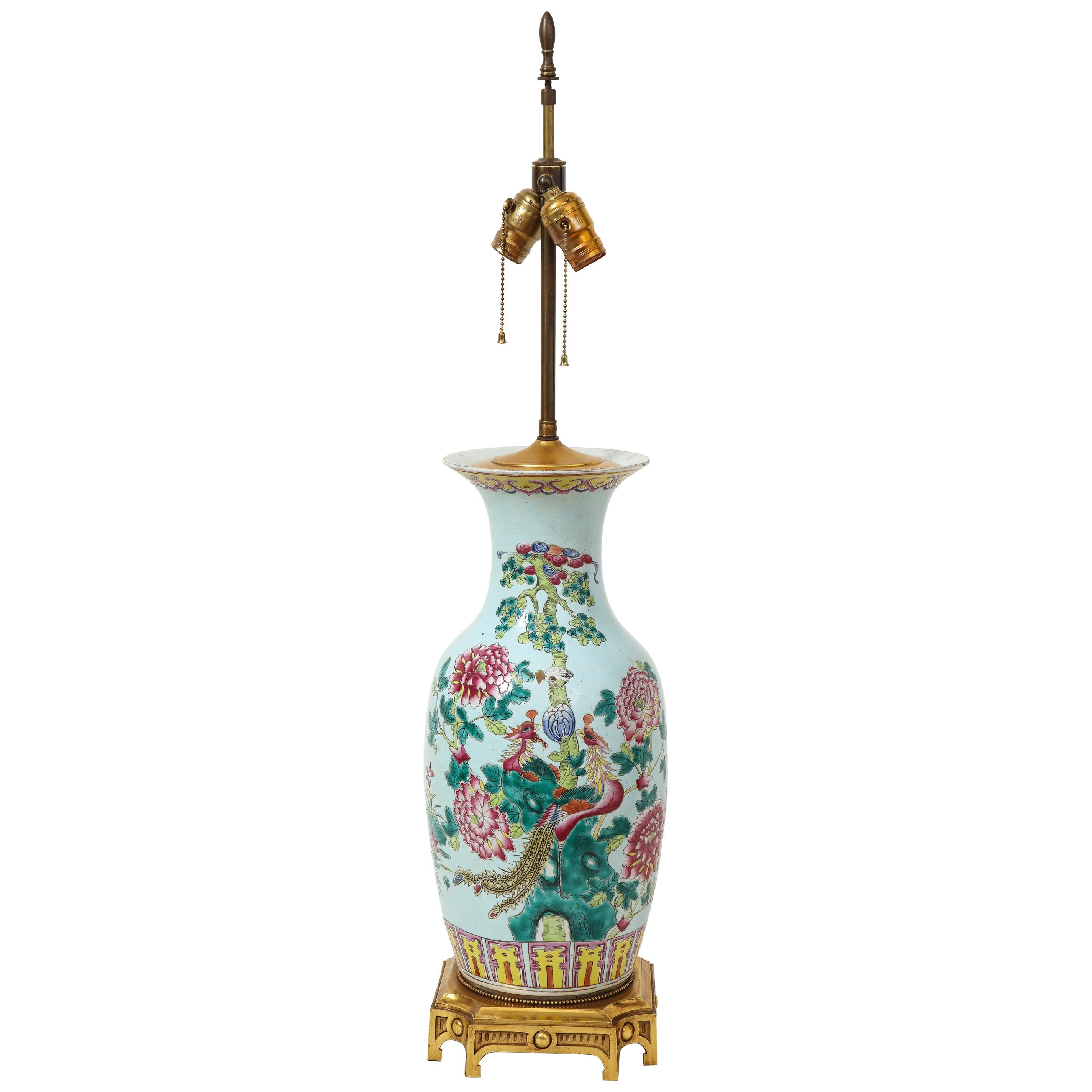 Chinese Porcelain Famille Verte Vase Mounted as Lamp