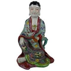 Chinese Porcelain Figure, Guanyin Holding a Scroll, Republic Period