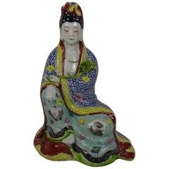 Chinese Porcelain Figure, Seated Guanyin, Republic Period