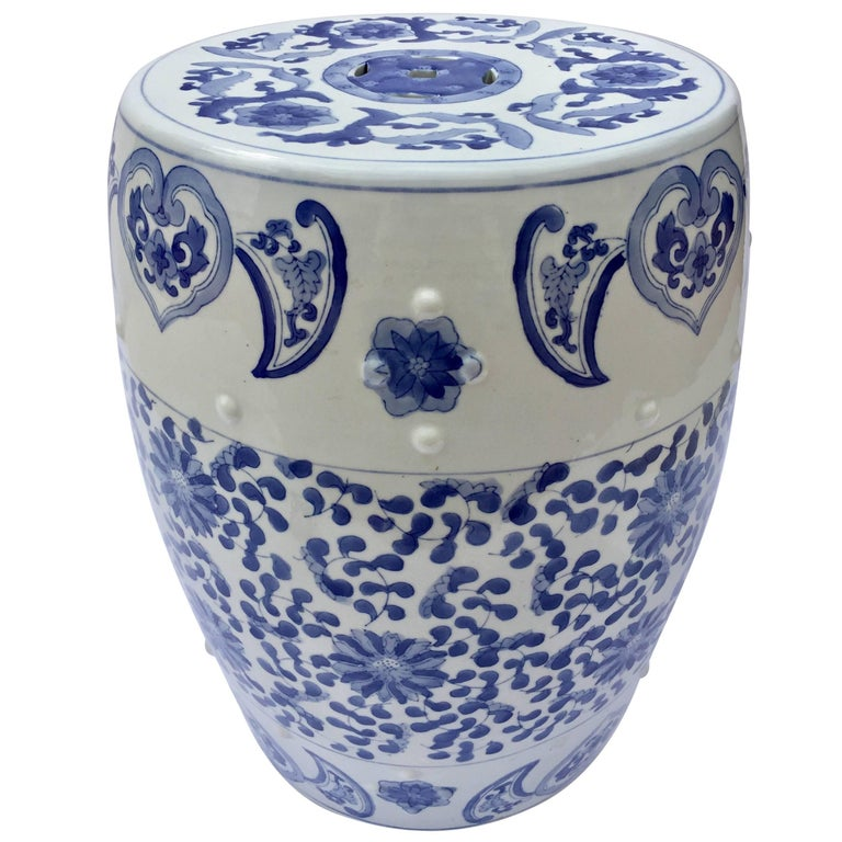Chinese Porcelain Garden Seat in Blue and White Floral Motif For Sale