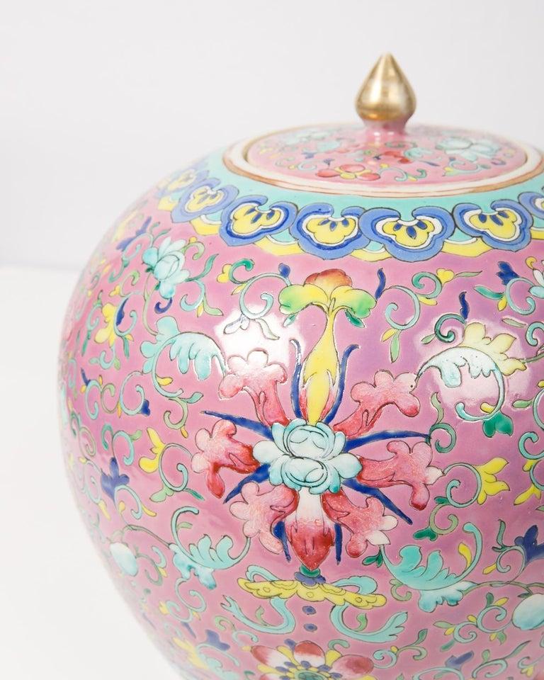 Enameled Chinese Porcelain Ginger Jar Famille Rose For Sale