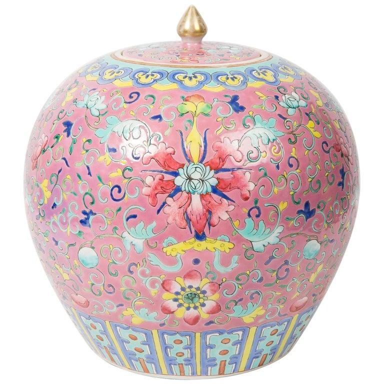 Chinese Porcelain Ginger Jar Famille Rose For Sale