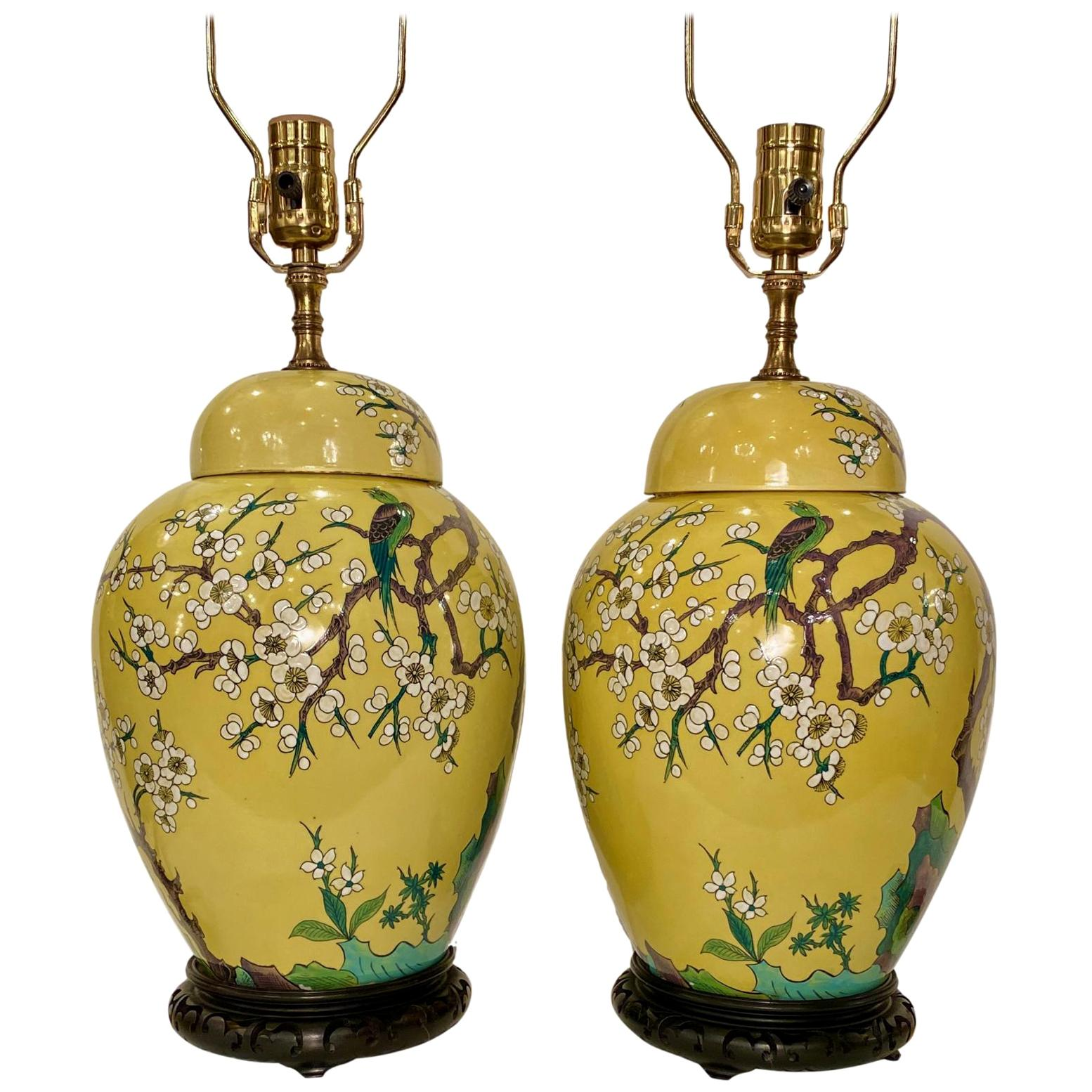 Chinese Porcelain Ginger Jar Table Lamps