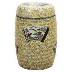 Chinese Porcelain Imari Garden Stool on Yellow Ground