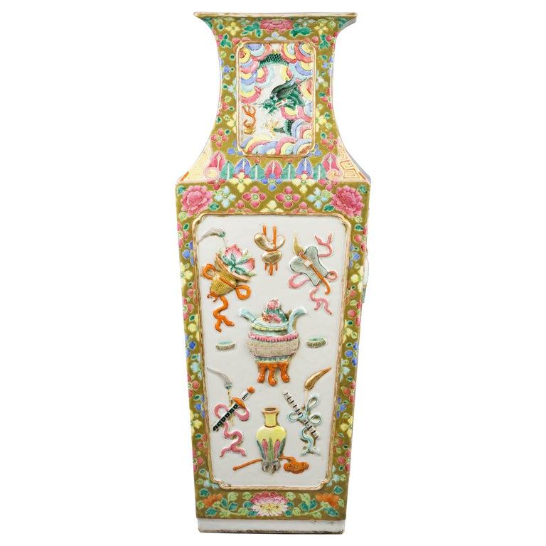 Chinese Porcelain Mandarin Pallet Vase, circa 1860 For Sale