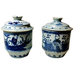 Chinese Porcelain Pair of Ginger Jars Decorations in Cobalt Blue
