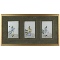 Chinese Porcelain Plaque Figures in Qianjiang Style, 1900s-1930s Antique