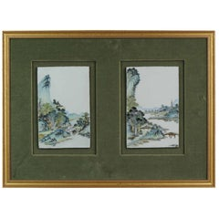 Chinese Porcelain Plaque Landscape Figures Boats in Qianjiang Style, 190