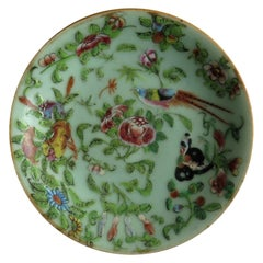 Chinese Porcelain Plate Celadon Famille Rose Hand Painted, circa 1820