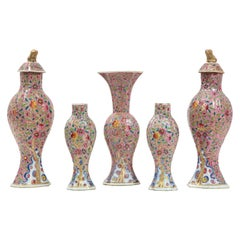 Chinese Porcelain Puce Ground 5 Piece Garniture Set with Floral Decorations