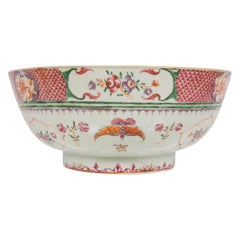 Chinese Porcelain Punch Bowl Hand Painted in Famille Rose Colors, circa 1820