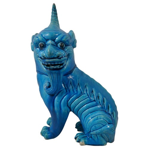 Chinese Porcelain Qilin, Turquoise Glazed, circa 1880, Qing Dynasty