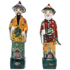 Chinese Porcelain Qing Style Male Figures, Set of 2