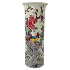 Chinese Porcelain Spill Vase, Exotic Birds, c. 1890, Guangxu Period