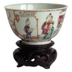 Chinese Porcelain Tea Bowl and Stand Long Eliza figures Qing Qianlong circa 1750