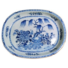 Qing Dynasty Chinese Porcelain Tray  Hand-Painted  in Blue Cobalt 1760