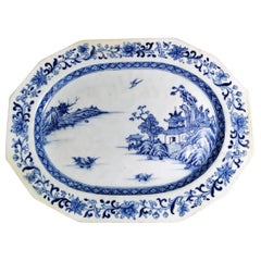 Chinese Porcelain Tray /Shallow Bowl with Hand Painted Decoration in Cobalt Blue