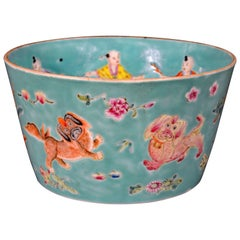 Chinese Porcelain Turquoise Jardinière of Bowl with Chinese Boys & Pekingese Dog