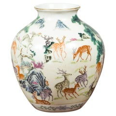 Chinese Porcelain Vase with Gilt Accents, Deer and Mountain Motifs
