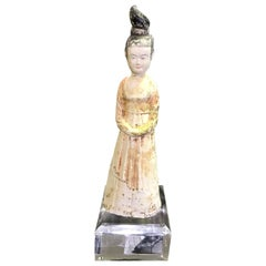 Chinese Pottery Ceramic Glazed Mud Figure of Court Lady Tang Dynasty with Stand