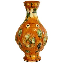 Chinese Pottery Vase Sancai Glazed with Bees