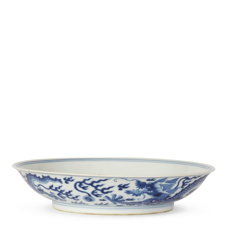 Glazed Chinese Qianlong Blue and White Dragon Dish, 1735-1796 For Sale