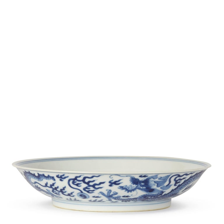 18th Century Chinese Qianlong Blue and White Dragon Dish, 1735-1796 For Sale