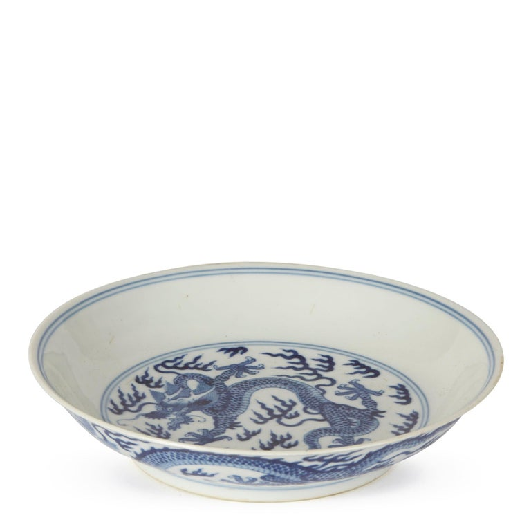 Ceramic Chinese Qianlong Blue and White Dragon Dish, 1735-1796 For Sale