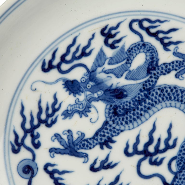 Chinese Qianlong Blue and White Dragon Dish, 1735-1796 For Sale 3