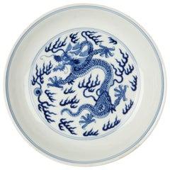 Chinese Qianlong Blue and White Dragon Dish, 1735-1796